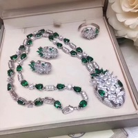 Brand party Jewelry Set For Women Princess snake Necklace luxury replica green zircon copper Necklace Earrings Bracelet Set