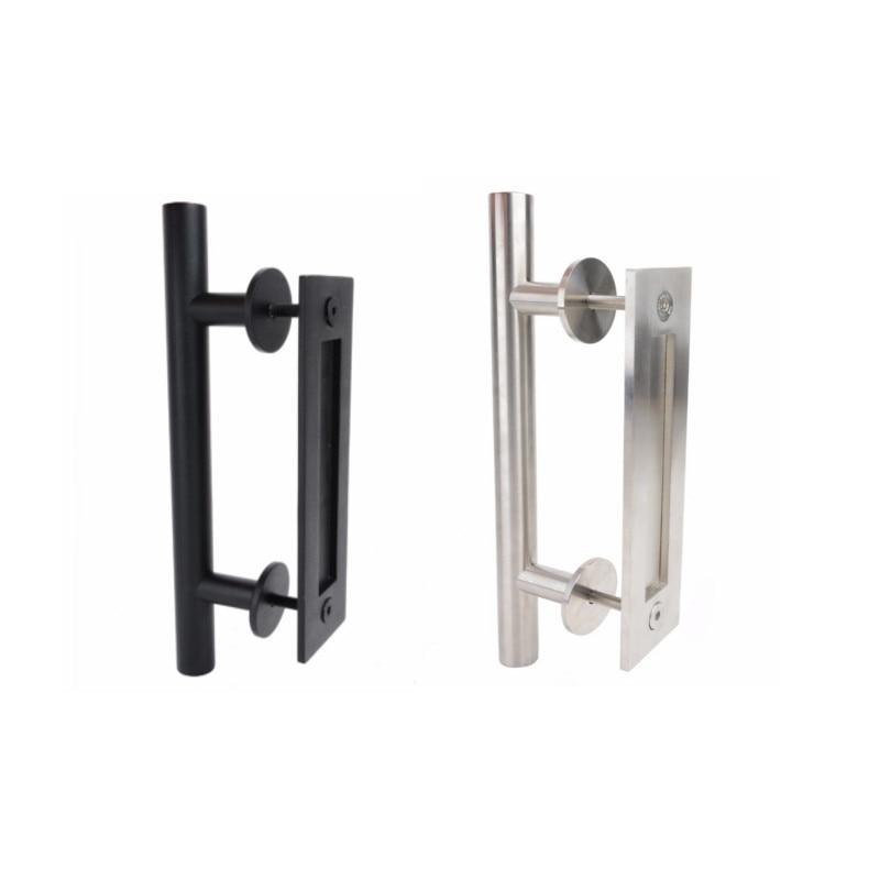 Stainless Steel Durable Sliding Door Handle Barn Door Handle & Flush Pull Set Black Silver For 35-45mm door MAYITR