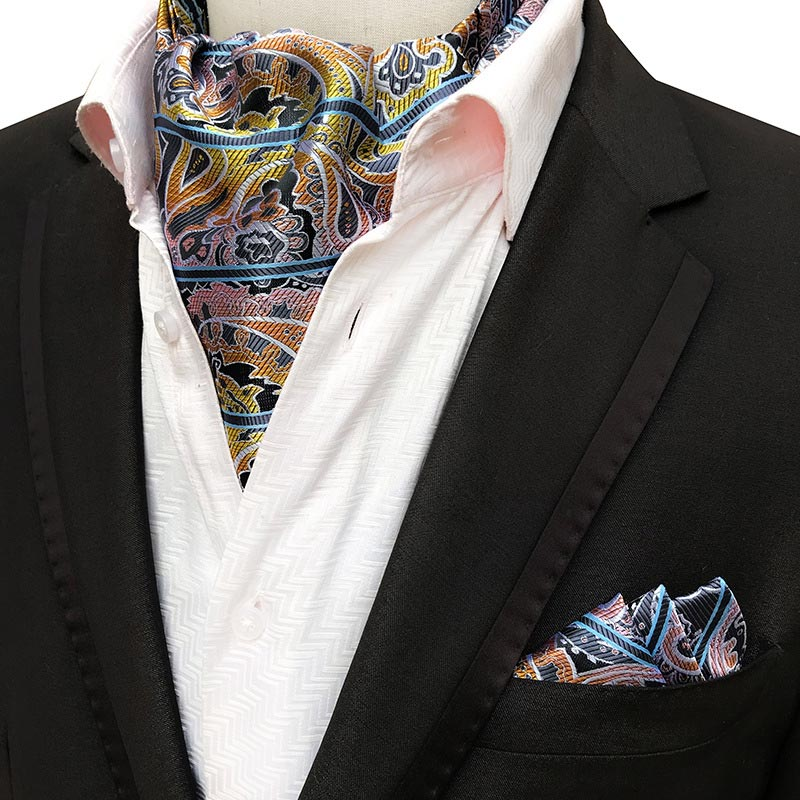 YISHLINE  HOT Men Silk Ascot Tie Set Man Cravat Ties Handkerchief Set Floral Paisley Dots Pocket Square Set Man Accessories