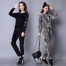Women Winter High Quality Velvet Suit Women's Beads Sequin Phoenix Casual 2 Piece Suit Pants Sportswear velour Tracksuit