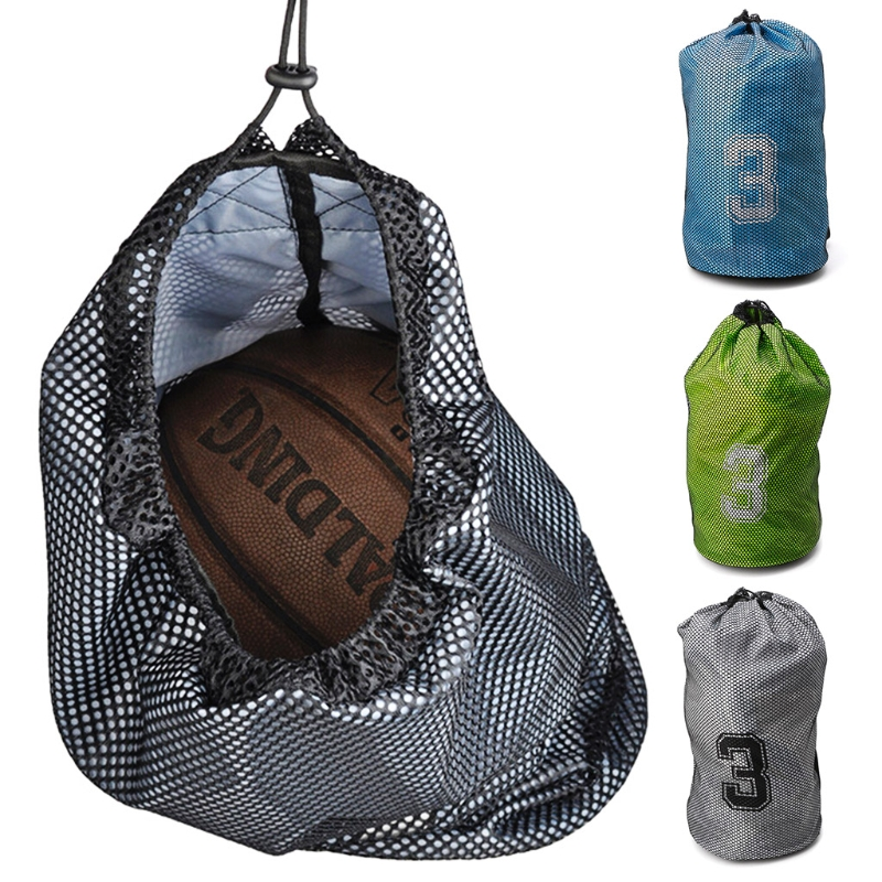 1pc Portable Basketball Backpack Mesh Bag Holder Adjustable Strap For Soccer Volleyball