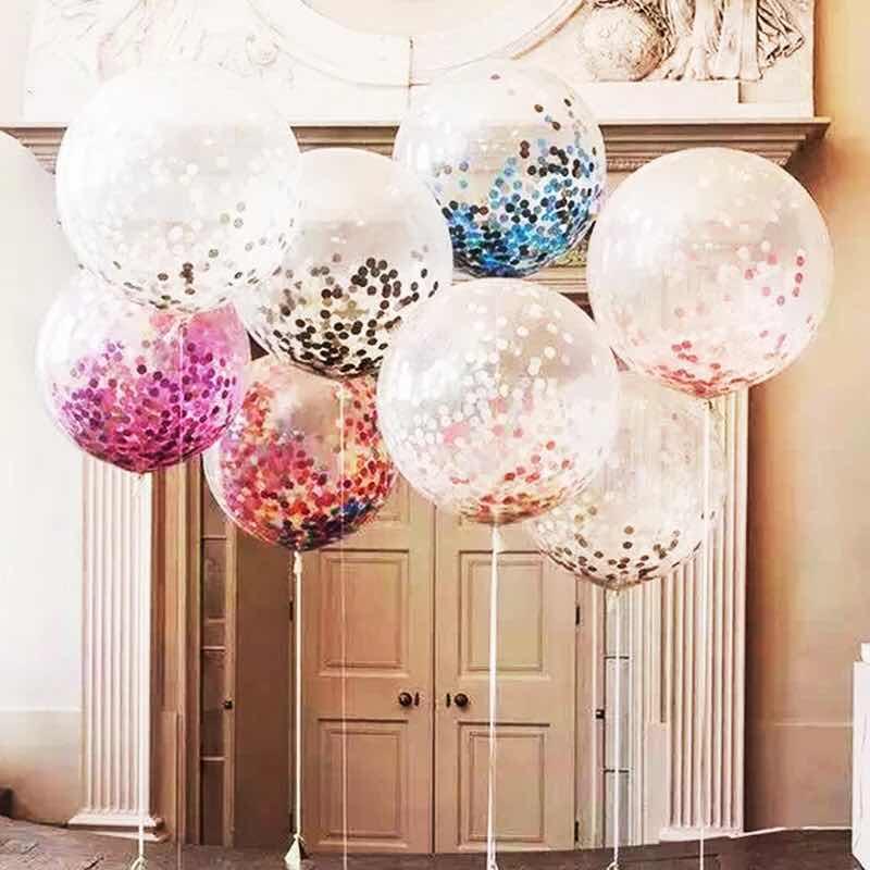 Sød & smil 36 tommer klar latexballoner kæmpe konfetti sprængning helium float ballon fødselsdag julebord bryllupsdekoration