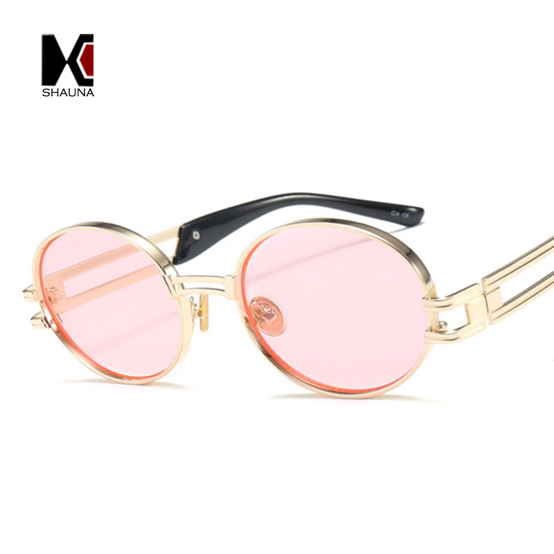 SHAUNA Classic Punk Styles Women Oval Sunglasses Fashion Thick Metal Frame Men Yellow Tinted Lens Glasses UV400