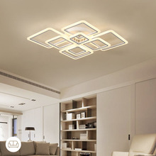 Modern designs Square ring Chandelier Lighting LED lustre de plafond moderne creative home decor White fixture