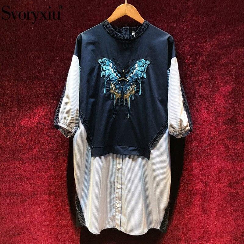 57a6274719b Designer Décontracté Coton Eté Demi Femmes Broderie Svoryxiu Lâches Robes  Mode Manches Pour Diamant De Printemps ...