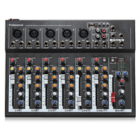 LEORY Karaoke Mixer Professional 7 Channel Studio Audio Mixing Console Amplifier Digital Microphone Sound Mixer Sound Card