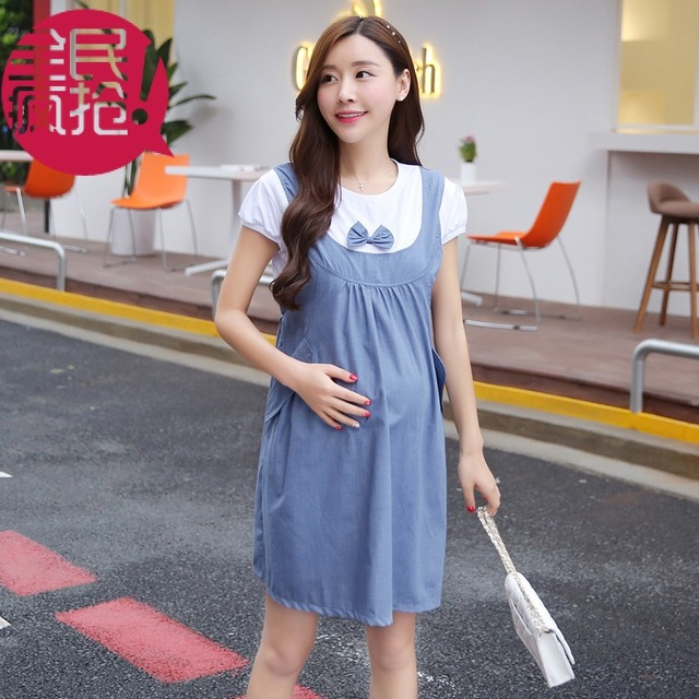 c74fd0a7f405b New Fashion Summer Maternity Dress Bow Clothes For Pregnant Women 2 Piece Set  Maternity One-Piece Dress Pregnancy Denim Clothing