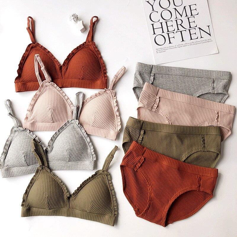 Fashion Women Bra Panty Set Sexy Push Up Lingerie Set Wireless Bra Low Waist Brief Cotton Underwear Set