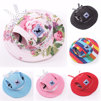 Śliczny piesek kapelusz czapka z otworami na uszy czapka dla kota szczeniaczek kapelusz słońce letni kapelusz księżniczki dla małe pieski chihuahua Yorkie artykuły dla zwierząt tanie i dobre opinie CN (pochodzenie) mesh canvas Stałe