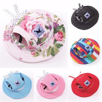 Śliczny piesek kapelusz czapka z otworami na uszy czapka dla kota szczeniaczek kapelusz słońce letni kapelusz księżniczki dla małe pieski chihuahua Yorkie artykuły dla zwierząt tanie i dobre opinie Stałe mesh canvas