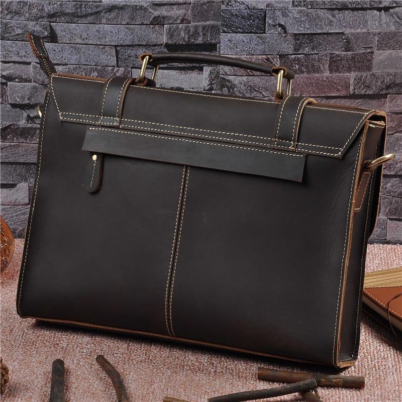 Vintage Crazy Horse Leather Men Briefcases Business Bag Genuine Leather 13 inch laptop Briefcase Men Shoulder Bag Handbag 1095