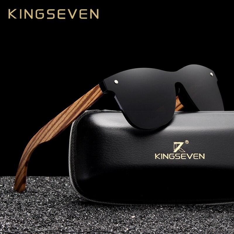 KINGSEVEN 2019 Polarized Quadrados óculos de Sol Das Mulheres Dos Homens Da Zebra De Madeira Moldura de Espelho Liso Condução Lente UV400 Eyewear