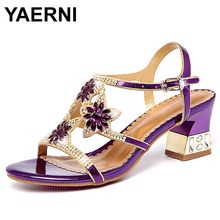 YAERNI Women's Sandals 2018 Summer Flowers Rhinestone 5cm High Heel Shoes Sandals Woman Platform Summer Leather Shoes E513(China)