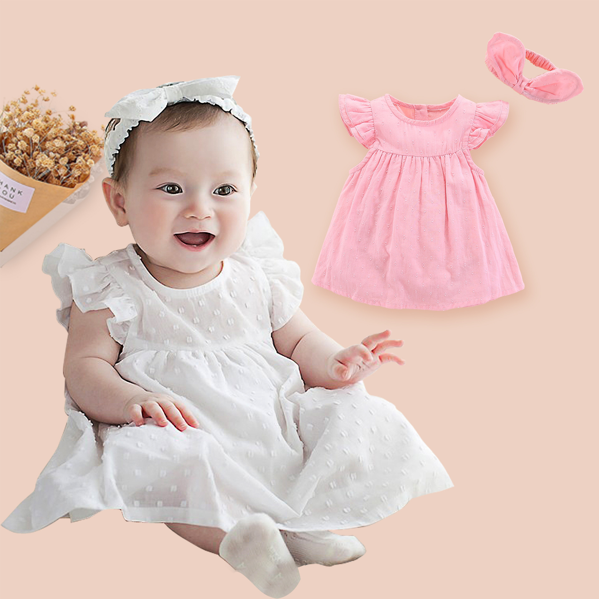 Dress Baby-Girl-Dresses Newborn Bebe Princess Summer Party White Cotton 0-3-Months  title=