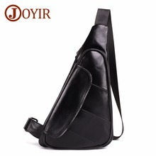 JOYIR Men Triangle Cow Leather Shoulder Bag Travel Genuine Chest Strap Sling Casual Pack Crossbody for