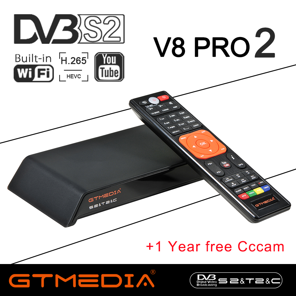 GT Media V8 Pro2 DVB S2/T2/C Satellite Receiver V8 Golden New Version H.265 Built in2.4G WIFI+1 Year Europe Spain PT DE PL CCcam-in Satellite TV Receiver from Consumer Electronics