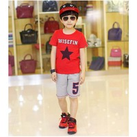 Kids Summer Clothes Sets Star Printing Cartoon Printed T-Shirt+ Sports Pant Kids Boy Letters Clothing 2 PCS Set
