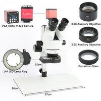 Телефон PCB Пайка Ремонт лаборатория промышленный 7X 45X 90X Simul focal тринокуляр стерео микроскоп VGA HDMI видеокамера 720 P 13MP