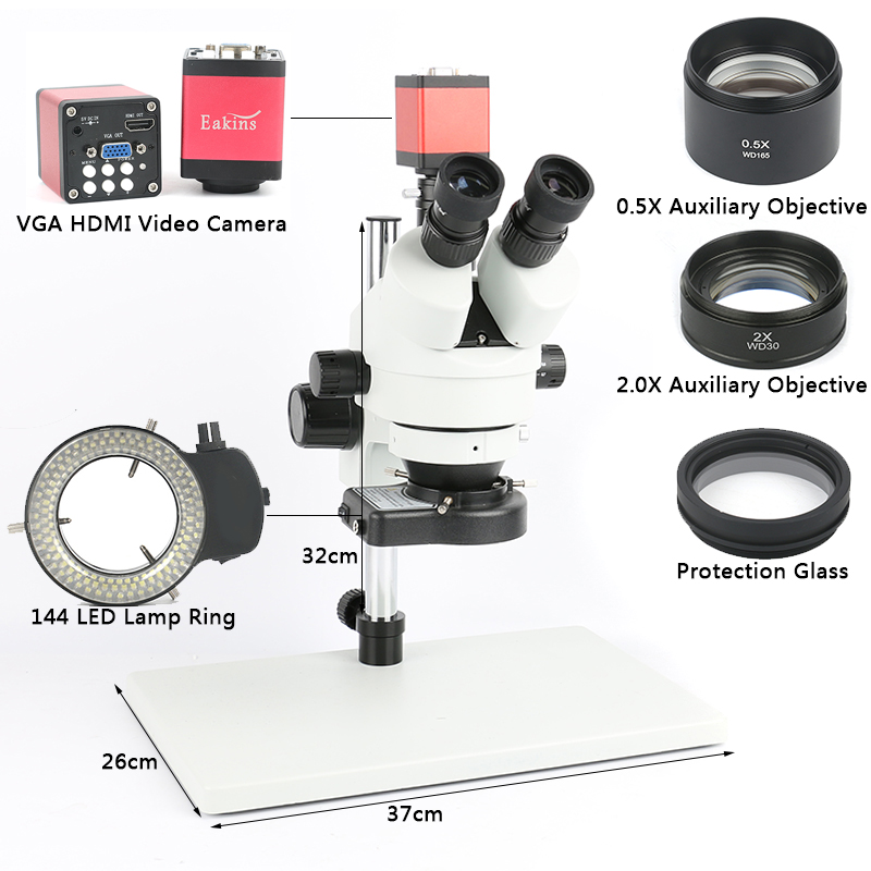 Téléphone PCB Souder Réparation Industriel de Laboratoire 7X 45X 90X Simul-focal Stéréo Trinoculaire Microscope VGA HDMI Caméra Vidéo 720 p 13MP