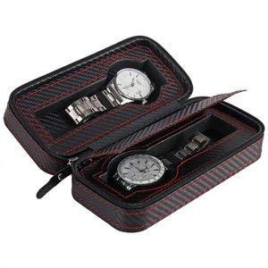 Image 2 - נייד תיבת שעון סיב עור מפוצל נסיעות מקרה שעון תיבת אחסון ארגונית פחמן שעון מקרה 2/4/8 חריץ מעולה עמיד d20