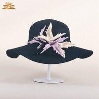 Lông cừu australia Fedora Hat Nữ Hoàng Curl Brim Red Hồng Hat Thờ Phụ Nữ Vintage Flower Chapeu Len Cap Hats B-7490