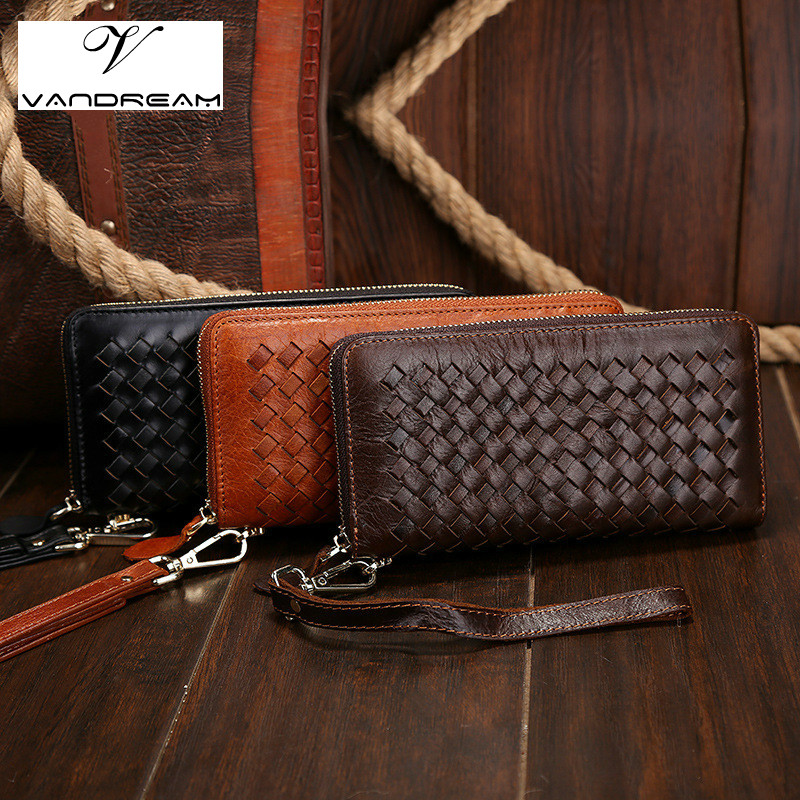 High Quality Cowhide genuine leather men wallet long designer male clutch Luxury zipper coin purse phone Wristlet Bags For Gifts vintage genuine leather wallets men fashion cowhide wallet 2017 high quality coin purse long zipper clutch large capacity bag