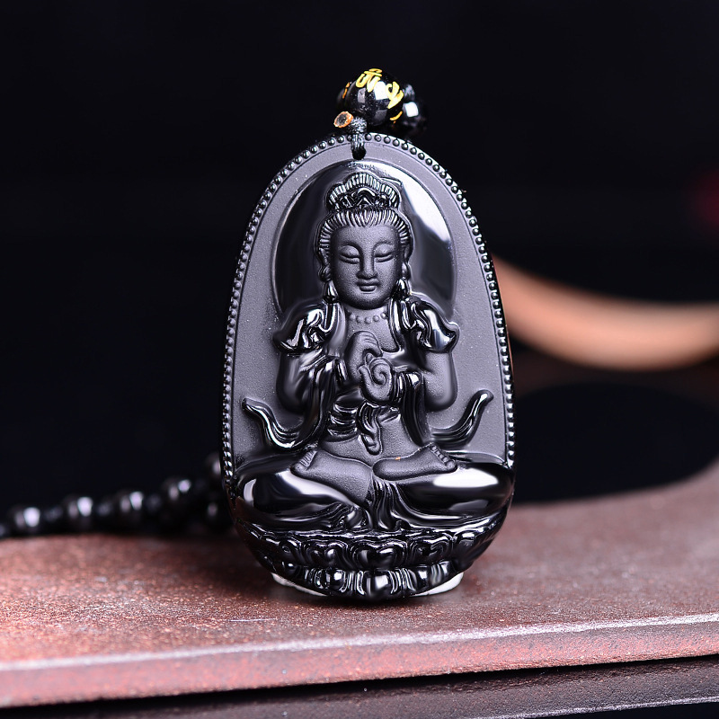 2018 High Quality Unique Natural Black Obsidian Carved Buddha Lucky Amulet Pendant Necklace For Women Men pendants Jewelry