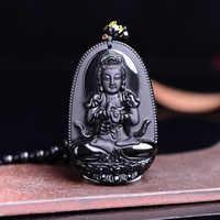 2018 di Alta Qualità di Unico Naturale Nero Ossidiana Intagliato Buddha Fortunato Amuleto Del Pendente Della Collana Per Le Donne Degli Uomini Dei Monili Dei pendenti