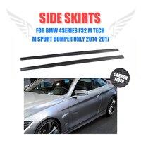 2PCS/Set Carbon Fiber Side Skirts Trims Lip Aprons For BMW 4 series F32 M Tech M Sport Bumper Only 2014 2017