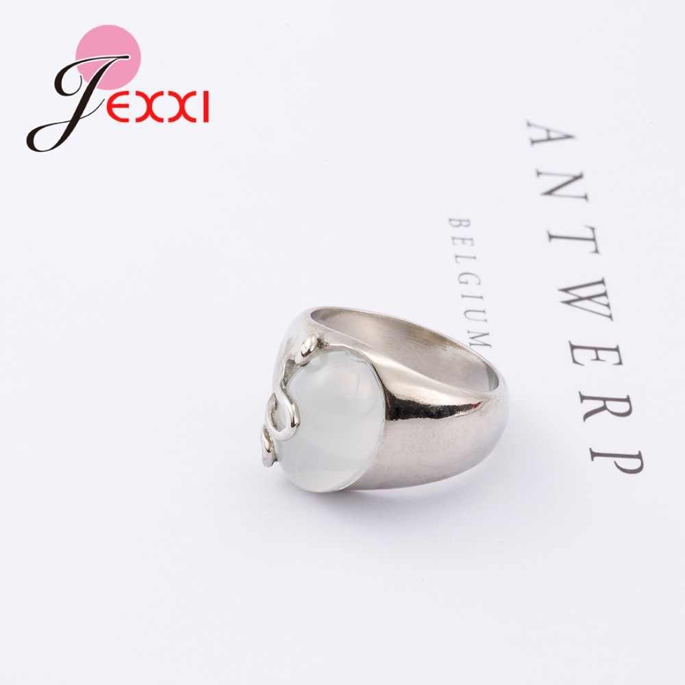 Nowy elegancki biały owalny Opal kamień marka czysta 925 Sterling Silver Rings piękna specjalna delikatnie biżuteria boże narodzenie prezenty