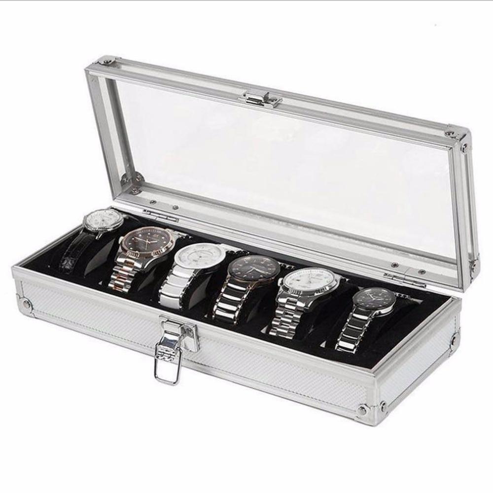 2/3/6 cajas de reloj de rejilla de madera de aluminio caja de reloj hecha a mano acrílico superior gamuza cojín para reloj colección de joyas vitrina