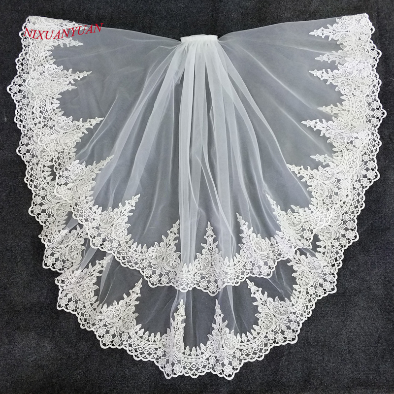 NIXUANYUAN 2017 Hot Sale Two Layer White Ivory Tulle Bridal Veil Lace Edge Cheap Short Wedding Veils Veu De Noiva Longo In Stock(China)