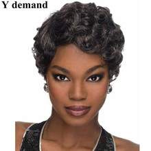 Hot sale hair products Short pixie cut style Afro wig for women straight black Synthetic african american wig with bangs