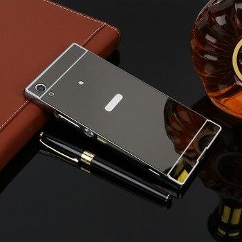 Перейти на Алиэкспресс и купить Защитный зеркальный чехол для Sony Xperia X XZ XZ2 Compact XZ1 XZP XA1 XA2 Ultra Plus XP XA, тонкая алюминиевая металлическая рамка + задняя крышка из ПК