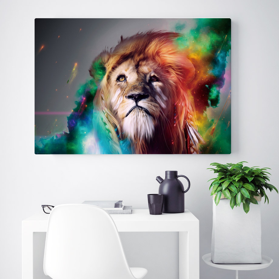 Us 5 61 5 offwatercolor colorful fashion lion wall art canvas painting nordic posters and prints animals wall pictures for living room decor in
