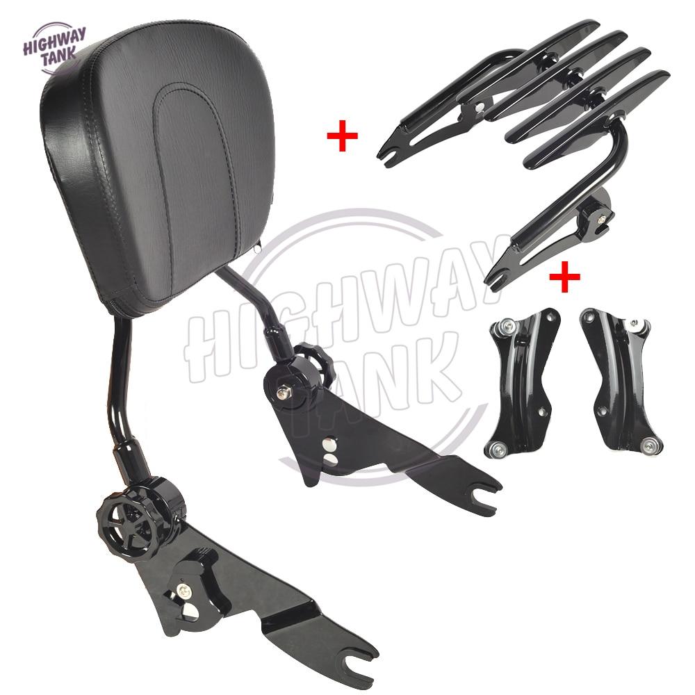 Black Motorcycle Sissy Bar Luggage Rack With 4 Point Docking Hardware Kit case for Harley Touring 2014 2015 2016 2017 модуль hpe rack hardware kit h6j85a