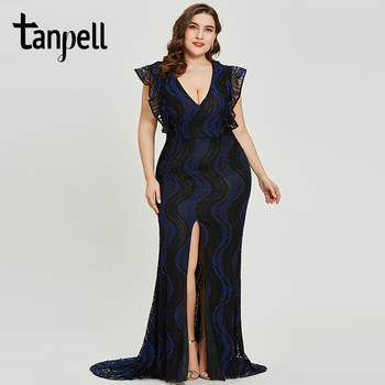 цена на Tanpell split front evening dress dark royal blue cap sleeves floor length gown women v neck formal long mermaid evening dresses