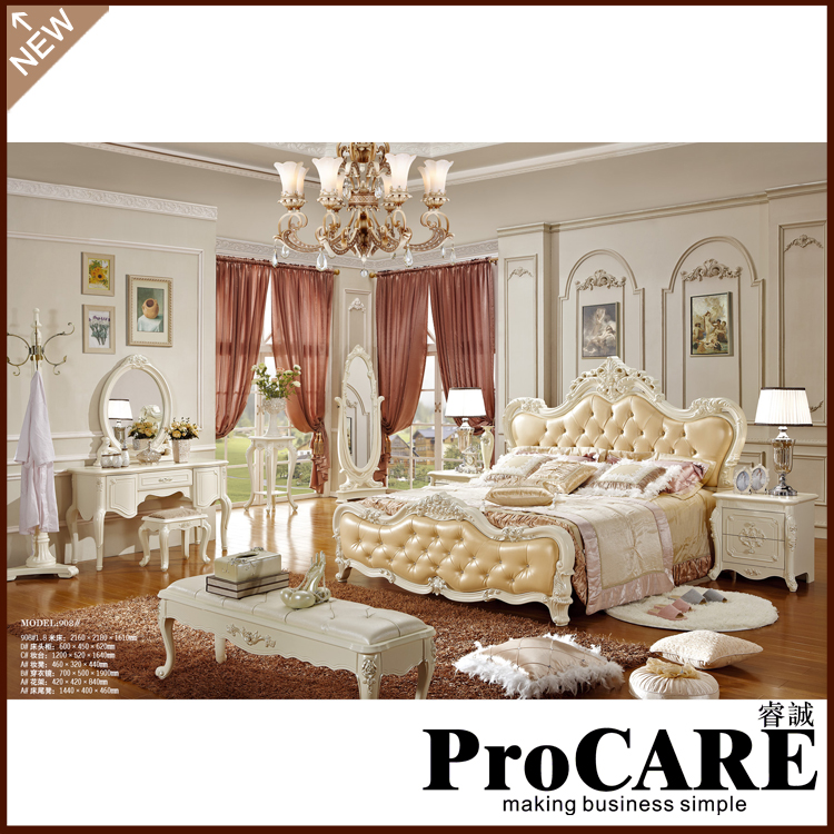 Hot sale champagne color bed european design bed for European beds for sale