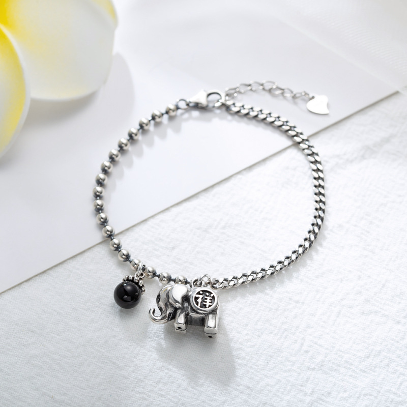 Vintage Elephant Bead 925 Sterling Thai Silver Chain Bracelet for Women Fashion Female Black Round Shell Pearl Charm Jewelry