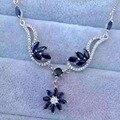 Природный синий сапфир камень Ожерелье Природных Драгоценных Камней Ожерелье 925 щепка модный Роскошный большой фрукты партии женщин Ювелирные Изделия