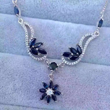 Natural blue sapphire stone Necklace Natural Gemstone Pendant Necklace 925 sliver trendy Luxury font b big