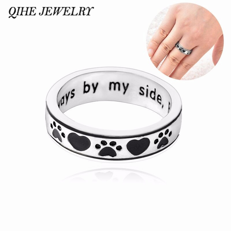 "QIHE JEWELRY Personalised Engraved ""Always by my side, Forever in my heart"" Dog Pawprint Wrap Ring Pet Memorial Dog Lover Gift"