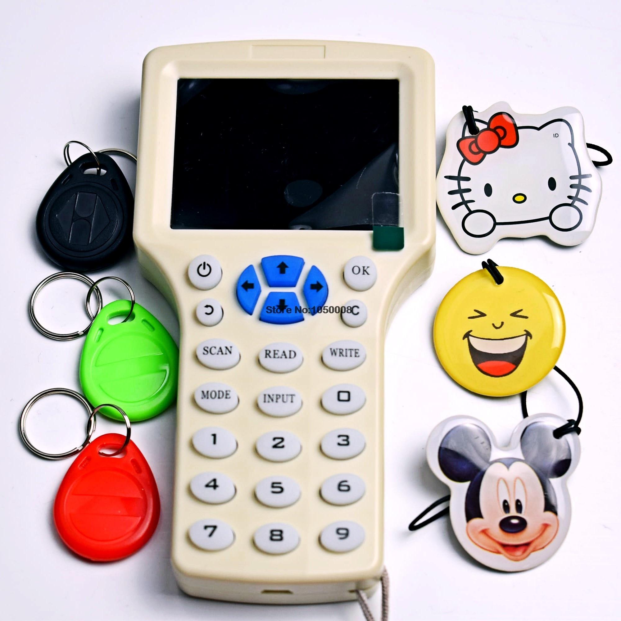 Inglese NFC Rfid Copier Reader Writer duplicator 10 Frequenza Programmatore + 3 pz 125 khz T5577 Scrivibile Tag Epossidica + 3 pz T5577 Key