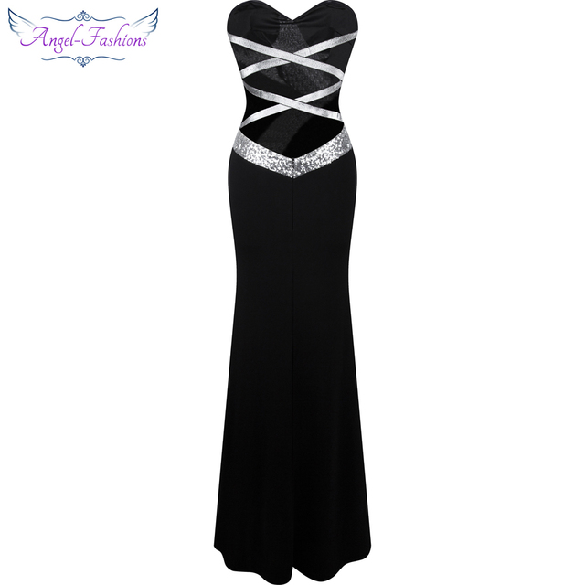 Long Prom Dress Angel-fashions Women's Strapless Criss-Cross Classic Mermaid Party Gown Black White 331 1