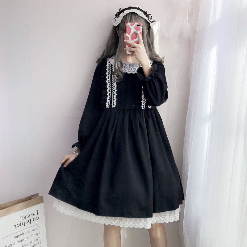 Tree&Sea Winter Long sleeves Black usual Lolita dress Girl Sweet lolita princess dress Ribbon Ruffled lolita Lace doll dress