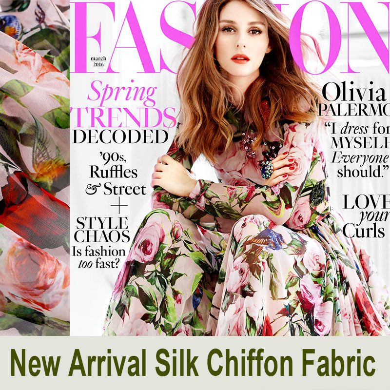 140CM Wide 6MM Pink Floral Green Leaves Print Silk Chiffon Fabric for Summer Dress Shirt Clothes E081
