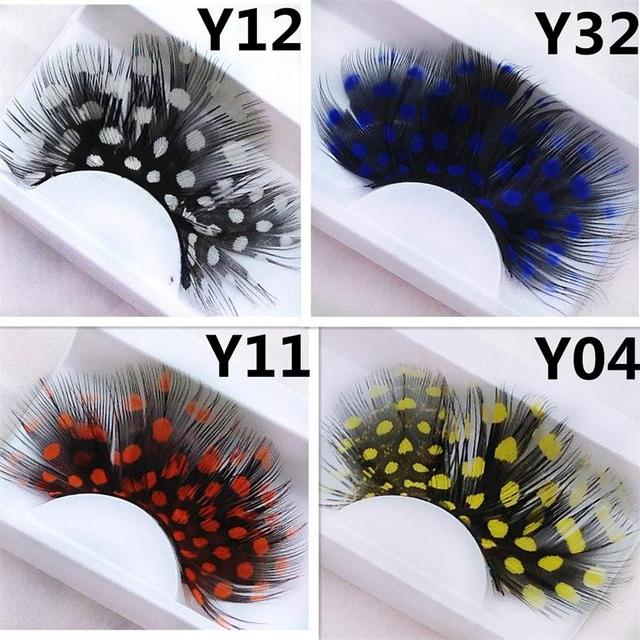 1 pairs Yellow Feather 3D Fake Eyelash Halloween Natural Stage Art Costume party Exaggerated Eyelashes Makeup Tools Y04 2