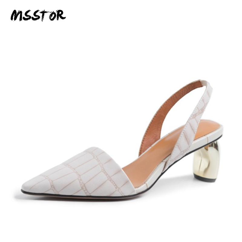 MSSTOR Leather High Heels Sandals Women Pointed Toe Elegant Party Fashion Summer Shoes Checkered Strange Style
