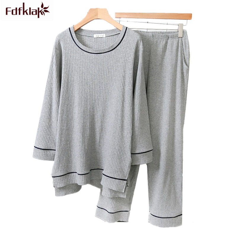 Fdfklak Hot New Winter Pajamas Women Long Sleeve Cotton Sleepwear Set Ladies Pyjamas Suit Comfortable Autumn Pajama Set