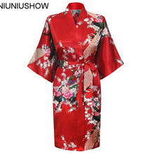 2018 Promotion Red Lady Silk Satin Sleepwear Chinese Style Printed Sexy Bathrobe Lounge Night Gown S M L XL XXL XXXL